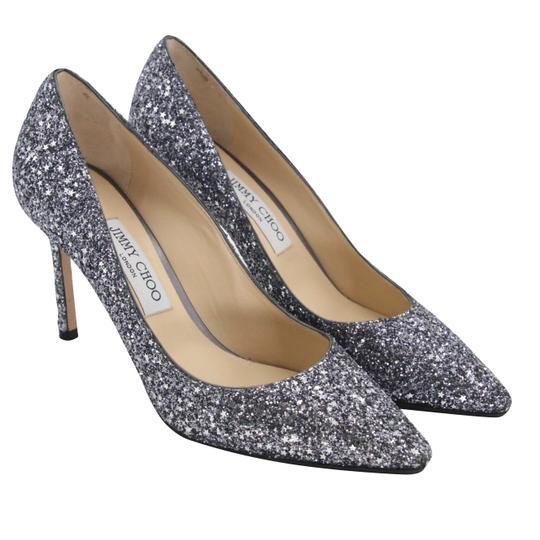 Jimmy Choo Party Holiday Vintage Sequin Monogram Ice Blue Pumps Image 3