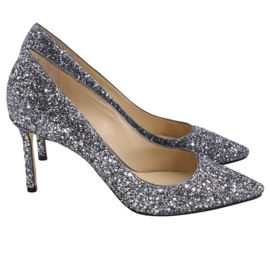 Jimmy Choo Party Holiday Vintage Sequin Monogram Ice Blue Pumps Image 4