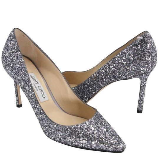 Jimmy Choo Party Holiday Vintage Sequin Monogram Ice Blue Pumps Image 5