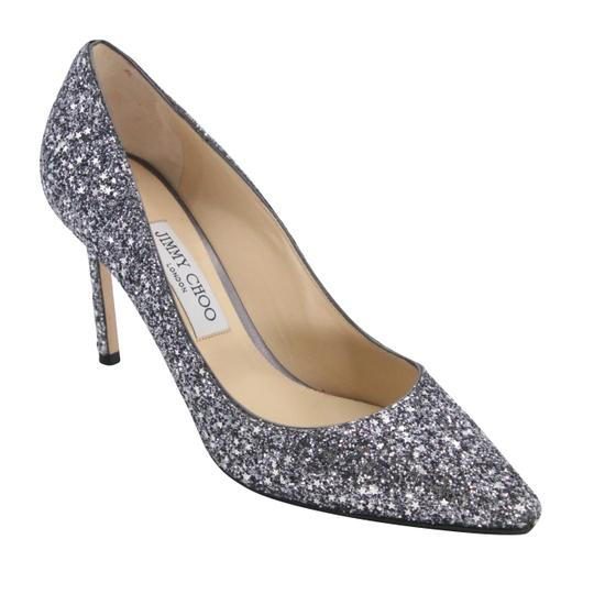 Jimmy Choo Party Holiday Vintage Sequin Monogram Ice Blue Pumps Image 6