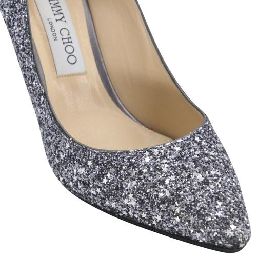Jimmy Choo Party Holiday Vintage Sequin Monogram Ice Blue Pumps Image 7