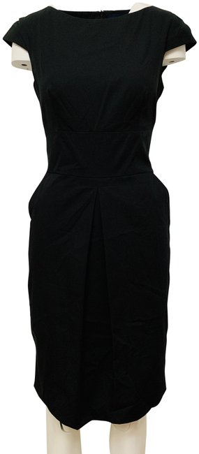 Item - Black Cap Sleeve Sheath Mid-length Work/Office Dress Size 6 (S)