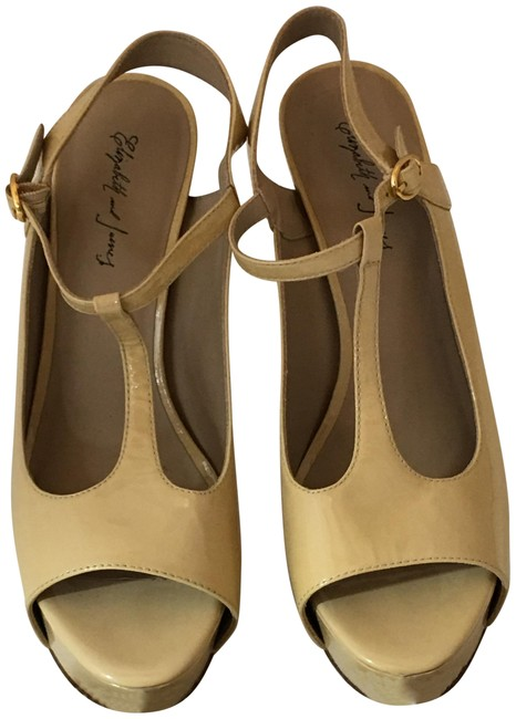 Elizabeth and James Beige/Nude 38419 Nwd Patent Leather Platform Peeptoe 9b Sandals Size US 9 Regular (M, B) Elizabeth and James Beige/Nude 38419 Nwd Patent Leather Platform Peeptoe 9b Sandals Size US 9 Regular (M, B) Image 1