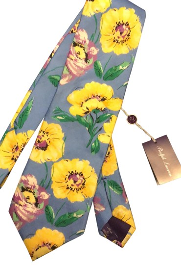 Preload https://img-static.tradesy.com/item/25282849/ralph-lauren-collection-yellow-silk-floral-neck-tie-scarfwrap-0-2-540-540.jpg