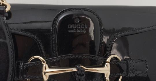2cc949511e7e98 Gucci Emily Chain Strap Small Black Patent Leather Shoulder Bag ...