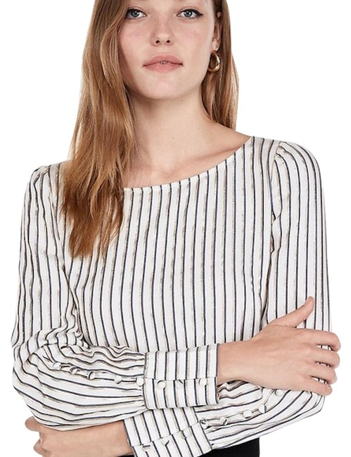 Preload https://img-static.tradesy.com/item/25282857/express-black-new-striped-puff-sleeve-shirt-blouse-size-6-s-0-1-650-650.jpg