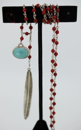 Other Red Coral Wire wrapped chain with feather and set turquoise stone Image 1