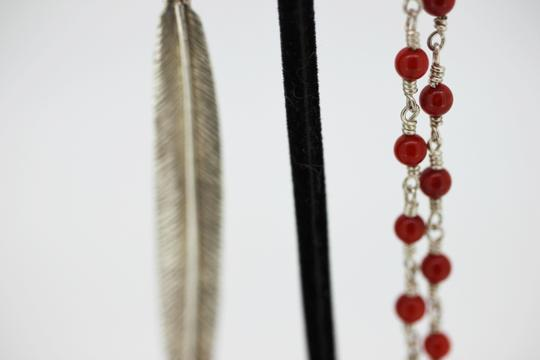 Other Red Coral Wire wrapped chain with feather and set turquoise stone Image 3