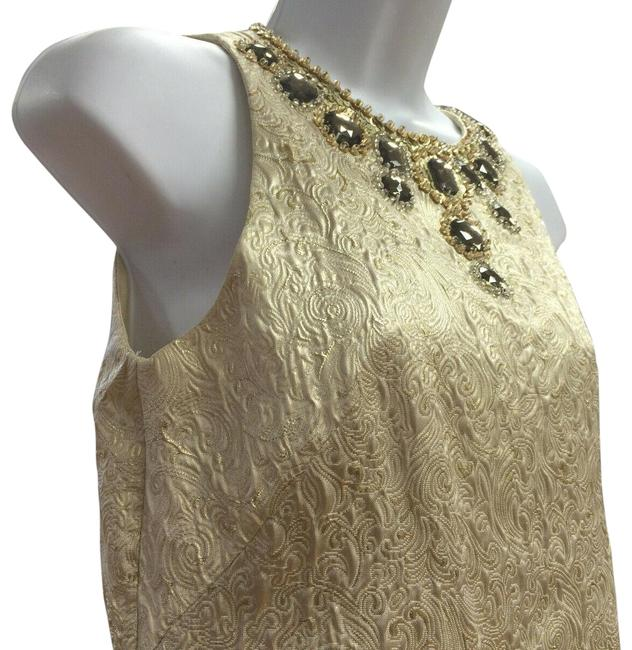 Item - Gold Shift with Crystal Neck Embellishment Mid-length Cocktail Dress Size 4 (S)