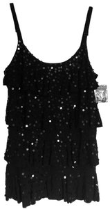 INC International Concepts Top Black Sequined 4-tiered Camisole