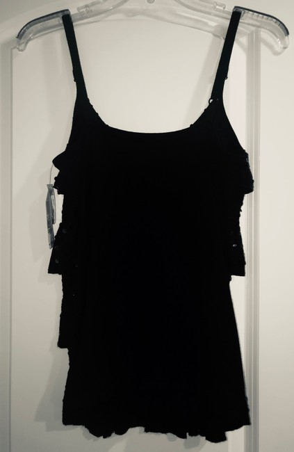 INC International Concepts Top Black Sequined 4-tiered Camisole Image 1