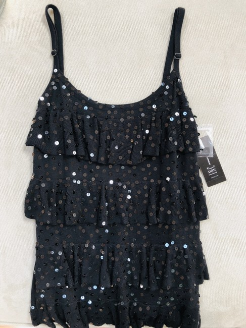INC International Concepts Top Black Sequined 4-tiered Camisole Image 2