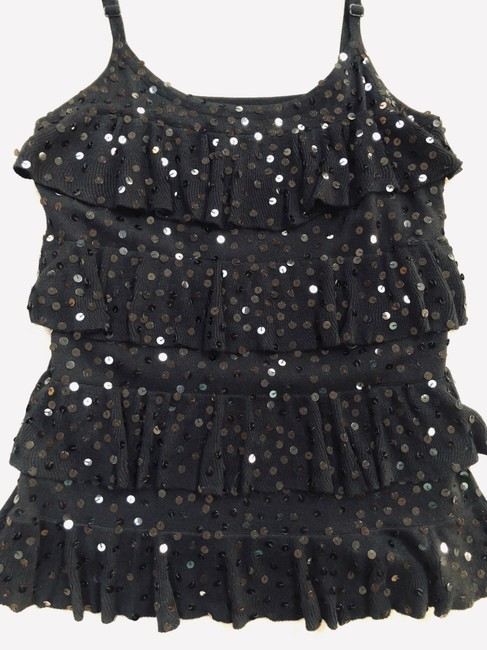 INC International Concepts Top Black Sequined 4-tiered Camisole Image 3