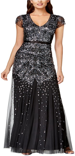 Preload https://img-static.tradesy.com/item/25283021/adrianna-papell-black-beaded-cap-sleeve-embellished-gown-blackgunmeta-long-formal-dress-size-4-s-0-2-650-650.jpg