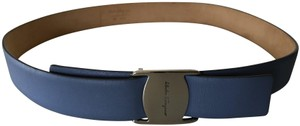 Salvatore Ferragamo Classic Leather Belt with Silver Logo Buckle