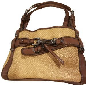 Francesco Biasia Satchel in Straw and chocolate brown detailing