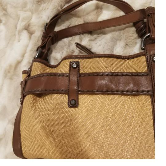 Francesco Biasia Satchel in Straw and chocolate brown detailing Image 3