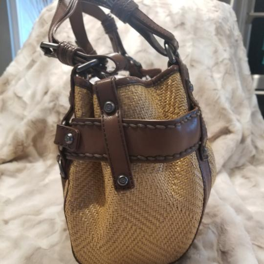 Francesco Biasia Satchel in Straw and chocolate brown detailing Image 5