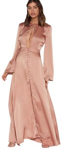 Mocha Rose Gold Maxi Dress by Other Satin Maxi Flare Sleeves
