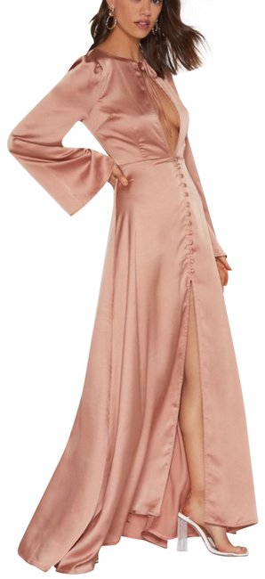 Mocha Rose Gold Maxi Dress by Other Satin Maxi Flare Sleeves Image 1