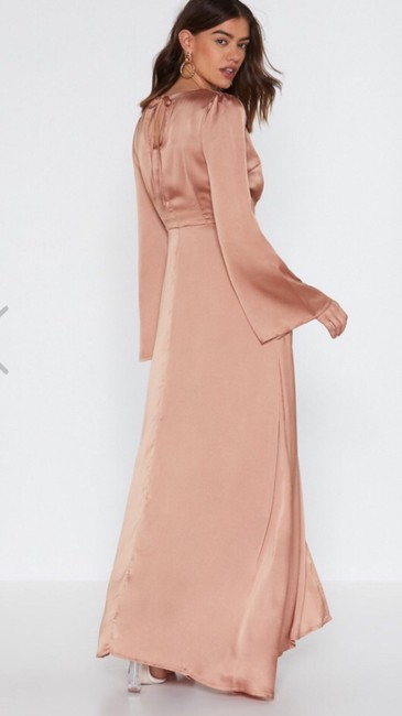 Mocha Rose Gold Maxi Dress by Other Satin Maxi Flare Sleeves Image 2