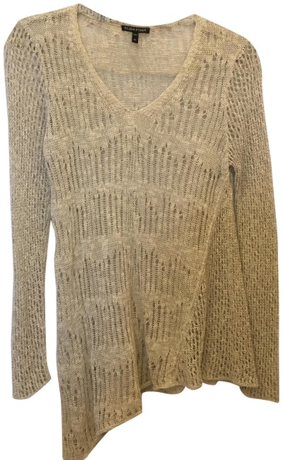 Eileen Fisher Linen Blend V-neck Asymmetric Hem Size Xs Extra Small Sweater Image 0