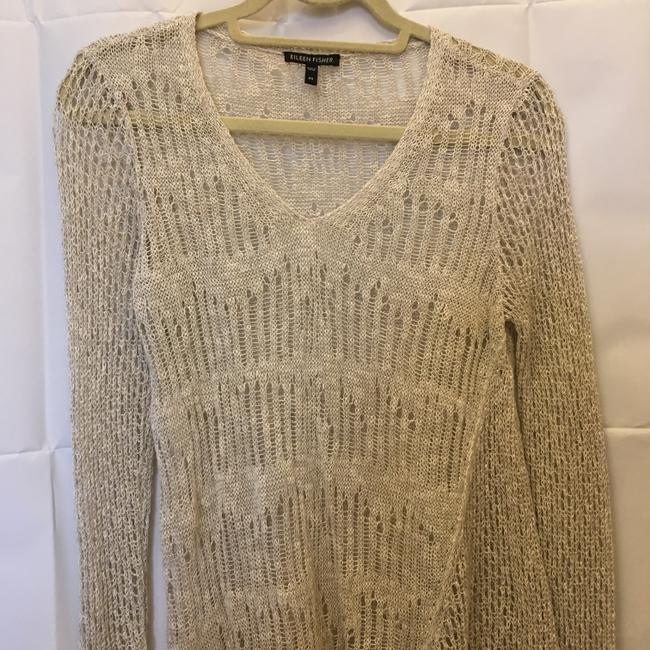 Eileen Fisher Linen Blend V-neck Asymmetric Hem Size Xs Extra Small Sweater Image 1