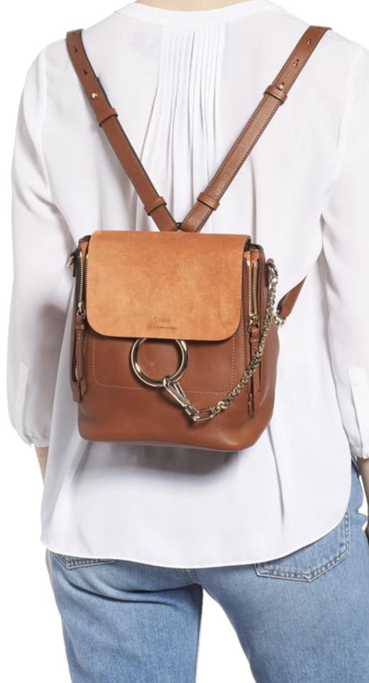 008d3dad Chloé Faye Small Tan Suede Leather Backpack