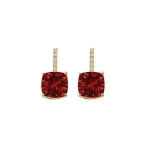 DesignerByVeronica Love Gem Ruby CZ Square Earrings Yellow Gold Vermeil