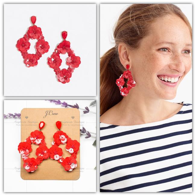 Item - Red Sequin Statement Earrings