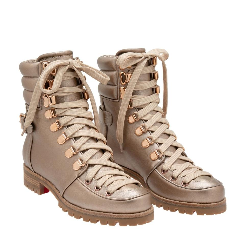 innovative design 34a1b 7c61e Christian Louboutin Gold Who Runs Flat Colombe Lace Up Tie Military Combat  Hiking Ankle Boots/Booties Size EU 37.5 (Approx. US 7.5) Regular (M, B)