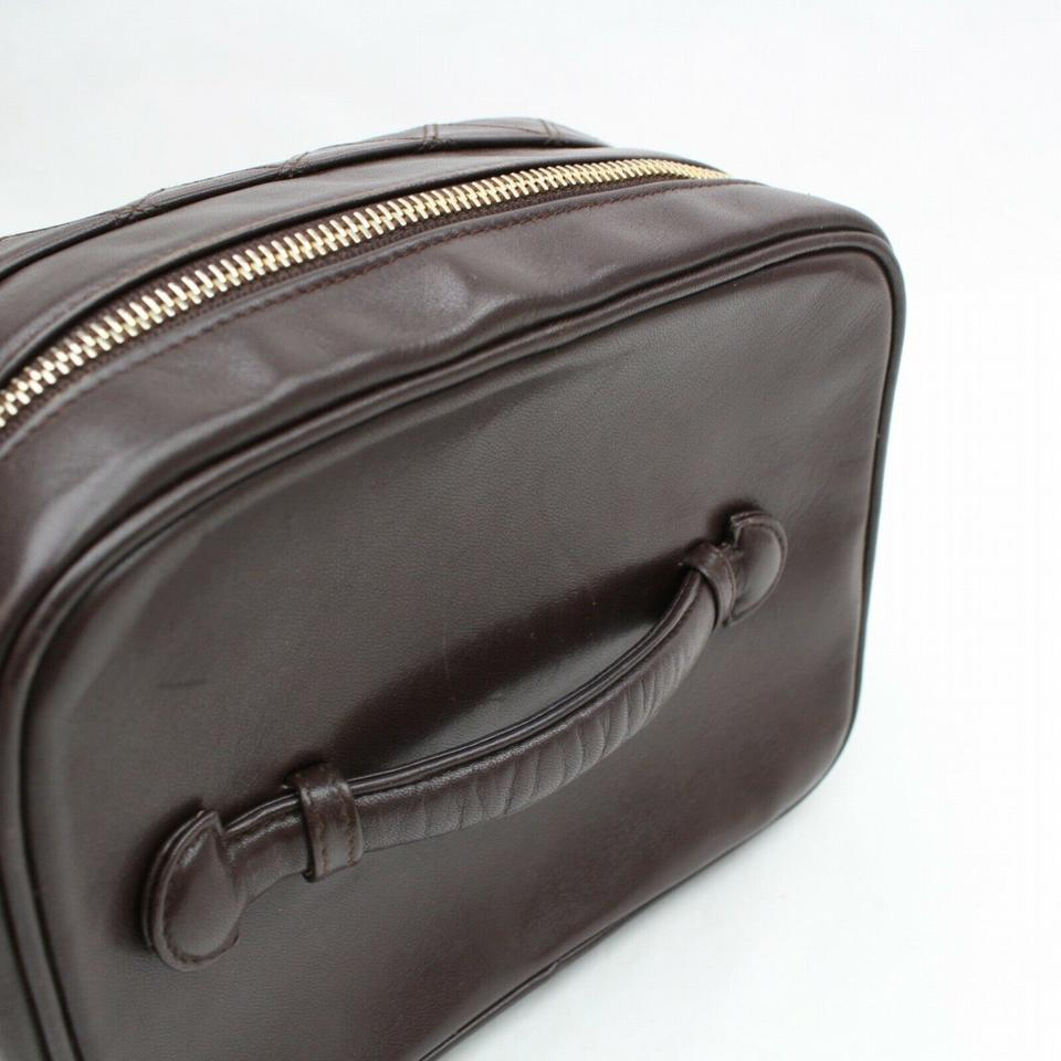 7541bc476393 Chanel Brown Vanity Case Dark Quilted Lambskin 870536 Cosmetic Bag ...