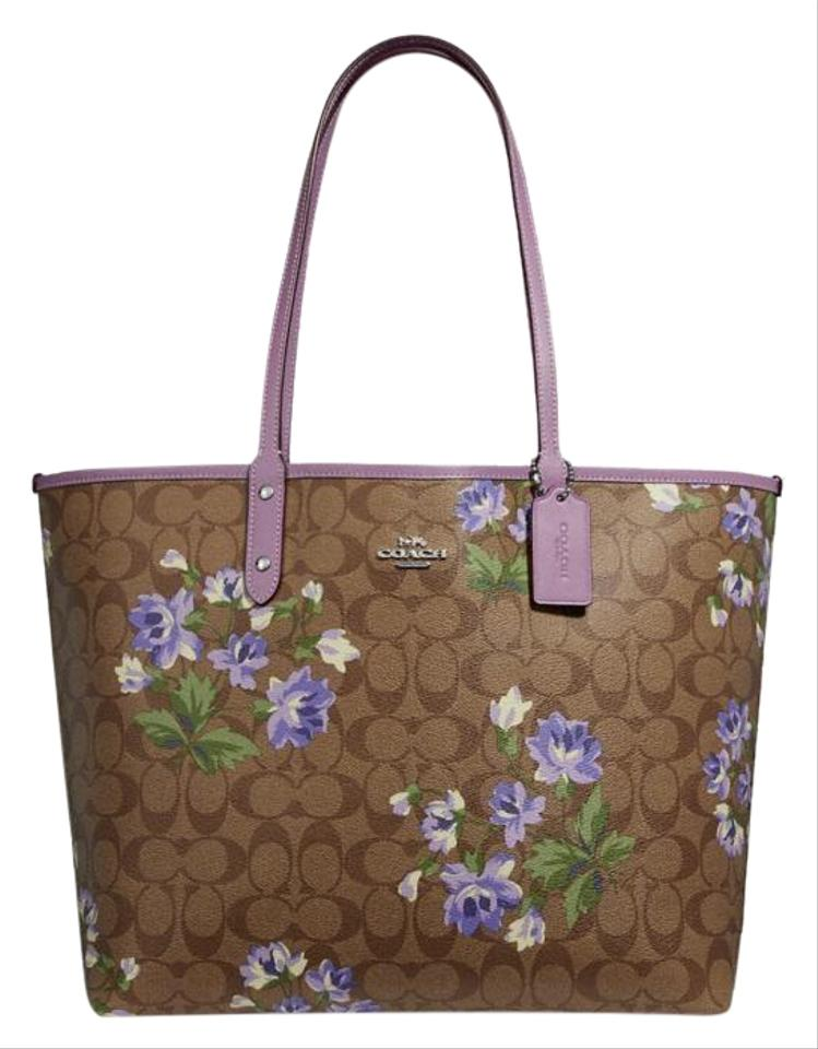 a366c03979305 Coach Lily City Reversible In Signature with Print Khaki Multi ...