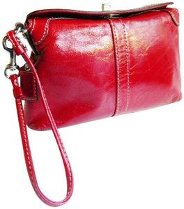 Coach Mini Evening Patent Small Silver Wristlet in red