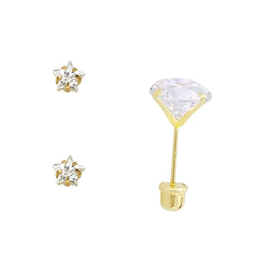 Top Gold & Diamond Jewelry 14k Yellow 5mm Star CZ Stamping Prong Stud Earrings - Screw Back Image 1