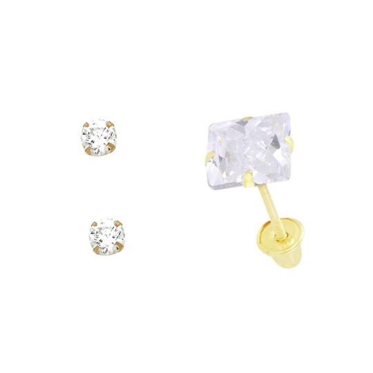 Top Gold & Diamond Jewelry 14k Yellow 4mm Stamping Prong Stud Earrings with Screw Back Image 1
