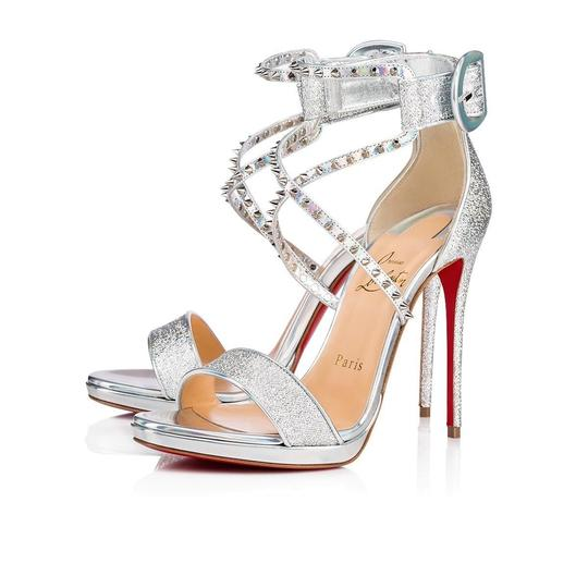 Christian Louboutin Stiletto Classic Choca Crisscross Strap Ankle Strap silver Pumps Image 0
