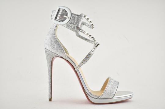 Christian Louboutin Stiletto Classic Choca Crisscross Strap Ankle Strap silver Pumps Image 1