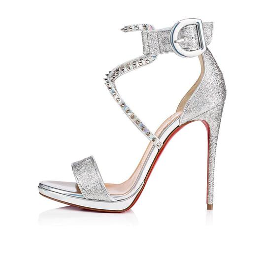 Christian Louboutin Stiletto Classic Choca Crisscross Strap Ankle Strap silver Pumps Image 2
