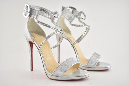 Christian Louboutin Stiletto Classic Choca Crisscross Strap Ankle Strap silver Pumps Image 3