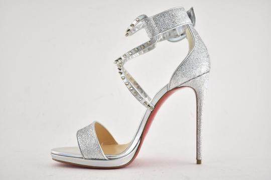 Christian Louboutin Stiletto Classic Choca Crisscross Strap Ankle Strap silver Pumps Image 7