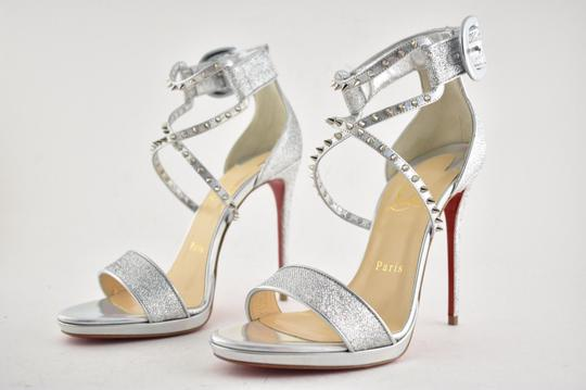 Christian Louboutin Stiletto Classic Choca Crisscross Strap Ankle Strap silver Pumps Image 8