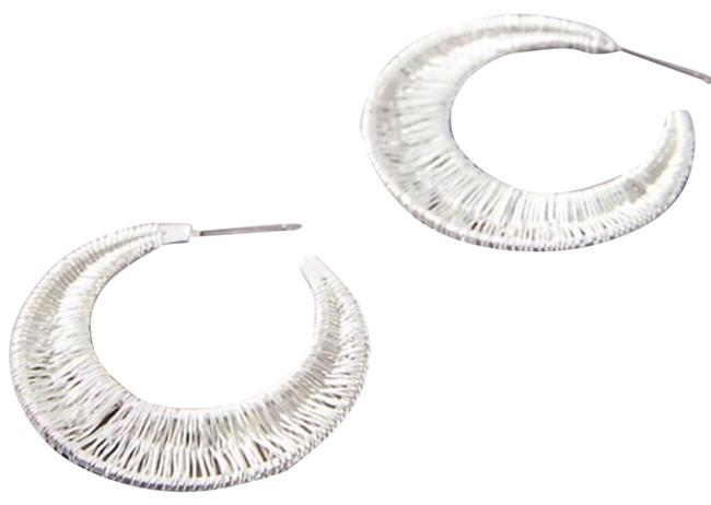 Item - Silver Tone Wrapped Crescent Hoops Earrings
