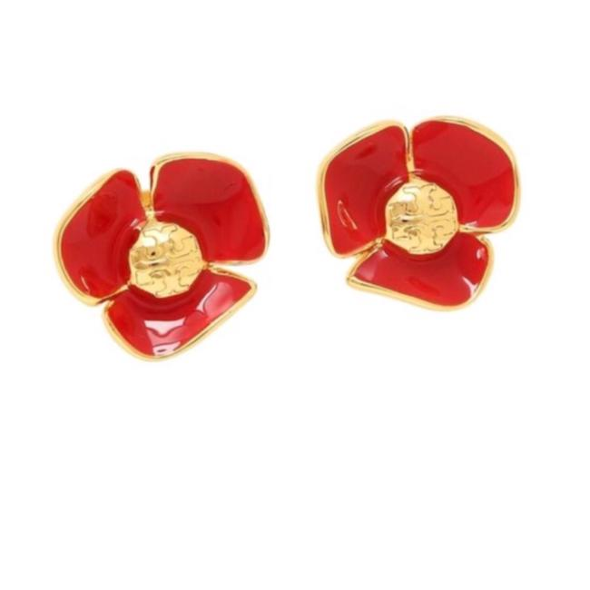 Item - Red/Gold Stud Fleur Earrings