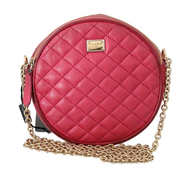 Item - Round Canteen Style Purses Hot Pink Quilted Leather with A Gold Chain Strap Cross Body Bag