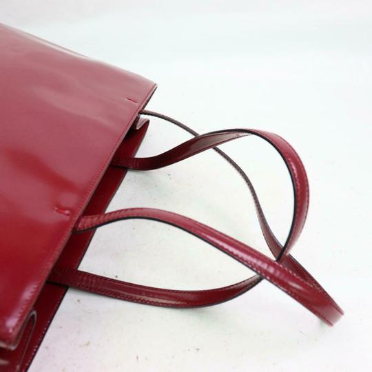 Prada Great Color Pop Multiple Compartment Mint Condition Tote in red patent leather and red leather Image 4