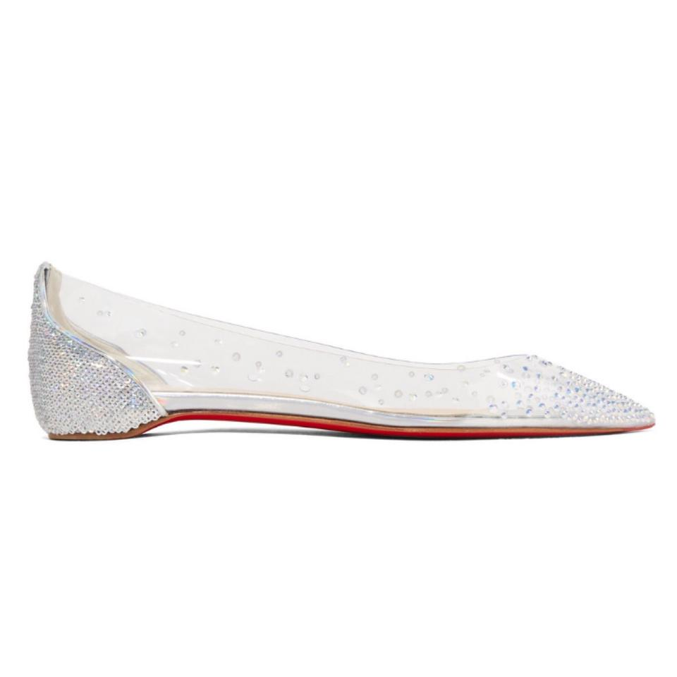 4c0b2943372 Christian Louboutin Degrasstrass Crystal Embellished Clear Pvc Leather  Pointy Flats Size EU 36 (Approx. US 6) Regular (M, B)
