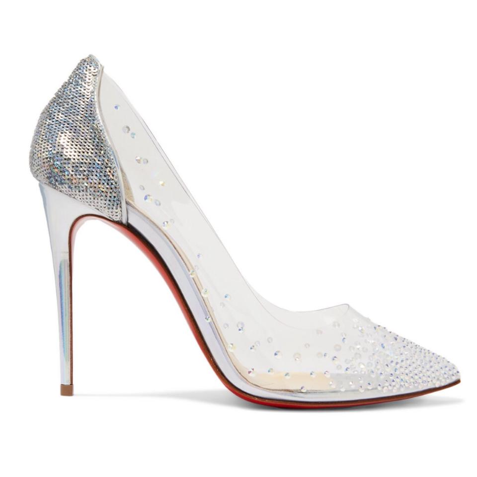 premium selection 3c7a7 80d36 Christian Louboutin Degrastrass 100 Crystal Embellished Clear Pvc Leather  Pumps Size EU 37 (Approx. US 7) Regular (M, B)