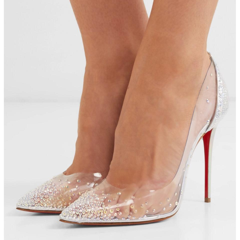 quality design cf66d 6b157 Christian Louboutin Degrastrass 100 Crystal Embellished Clear Pvc Leather  Pumps Size EU 39 (Approx. US 9) Regular (M, B)