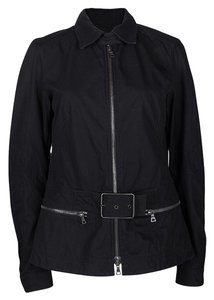 Prada Sport Black Cotton Zip Front Buckle Detail Jacket L